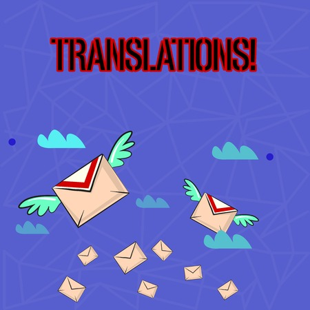 Writing note showing Translations. Business concept for Written or printed process of translating words text voice Colorful Airmail Letter Envelopes and Two of Them with Wings