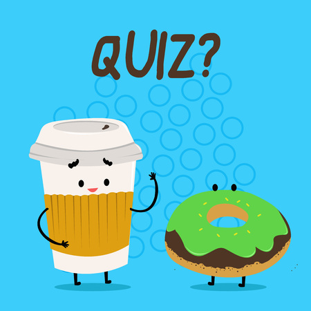 Handwriting text Quiz question. Conceptual photo Short Tests Evaluation Examination to quantify your knowledge Carry Out Paper Cup with Lid and Sleeve Beside Doughnut with Frosting on Top