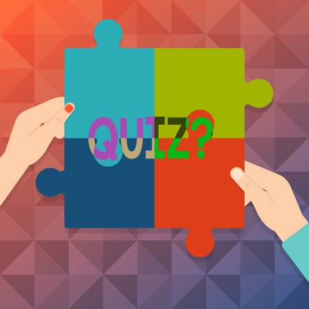 Word writing text Quiz question. Business photo showcasing Short Tests Evaluation Examination to quantify your knowledge Four Blank Multi Color Jigsaw Puzzle Tile Pieces Put Together by Human Hands
