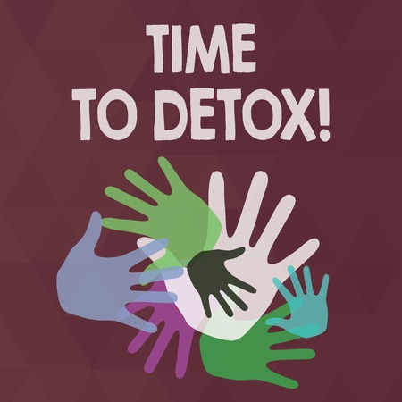 Word writing text Time To Detox. Business photo showcasing when you purify your body of toxins or stop consuming drug Color Hand Marks of Different Sizes Overlapping for Teamwork and Creativity Foto de archivo
