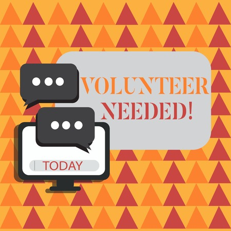 Word writing text Volunteer Needed. Business photo showcasing asking demonstrating to work for organization without being paid Blank Computer Monitor and Two Speech Balloon with Three Dots for Chat Icon