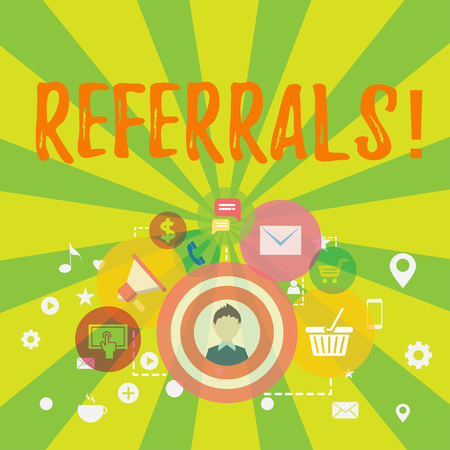 Conceptual hand writing showing Referrals. Concept meaning Act of referring someone or something for consultation review photo of Digital Marketing Campaign and Elements for Ecommerce