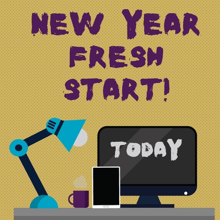 Writing note showing New Year Fresh Start. Business concept for Time to follow resolutions reach out dream job Arrangement for Nightshift Worker Computer, Tablet and Lamp