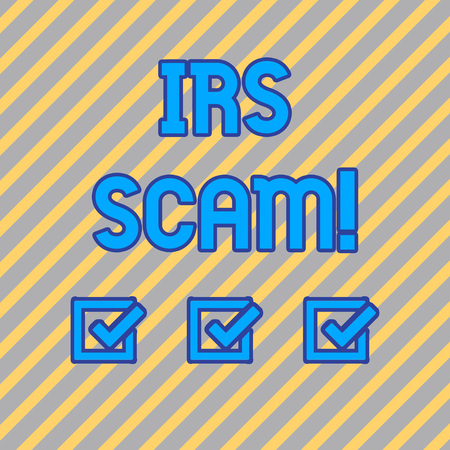 Text sign showing Irs Scam. Business photo text involve scammers targeting taxpayers pretending be Internal Service Seamless Diagonal Pattern of Pale Gold and Silver Stripes for Formal Theme