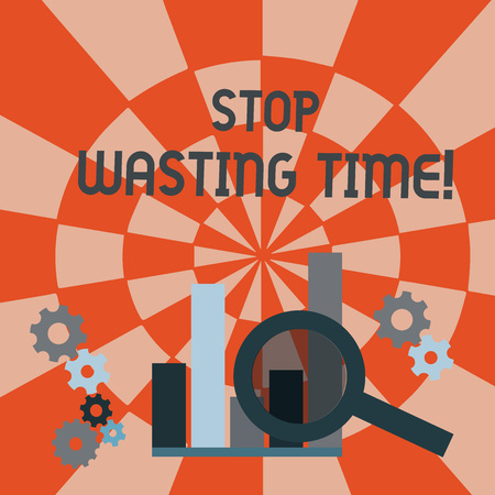 Text sign showing Stop Wasting Time. Business photo text advising demonstrating or group start planning and use it wisely Magnifying Glass Over Bar Column Chart beside Cog Wheel Gears for Analysis