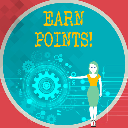 Text sign showing Earn Points. Business photo showcasing collecting big scores in order qualify to win big prize Woman Standing and Presenting the SEO Process with Cog Wheel Gear inside