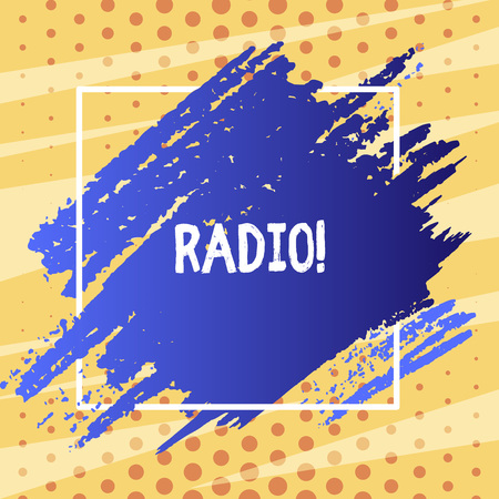 Text sign showing Radio. Business photo text Electronic equipment used for listening to broadcasts programs shows Blue Tone Paint Inside Square Line Frame. Textured Smudges with Blank Space