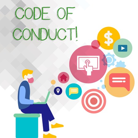 Text sign showing Code Of Conduct. Business photo showcasing Follow principles and standards for business integrity Man Sitting Down with Laptop on his Lap and SEO Driver Icons on Blank Space Stock Photo