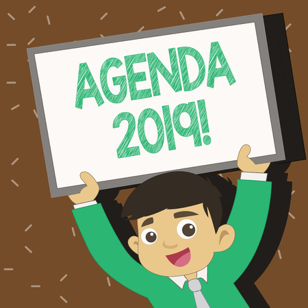 Text sign showing Agenda 2019. Business photo text list of items to be discussed at formal meeting or event Young Smiling Student Raising Upward Blank Framed Whiteboard Above his Head Фото со стока - 119850176