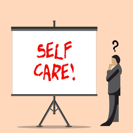 Word writing text Self Care. Business photo showcasing practice of taking action preserve or improve ones own health Businessman with Question Mark Above his Head Standing Beside Blank Screen