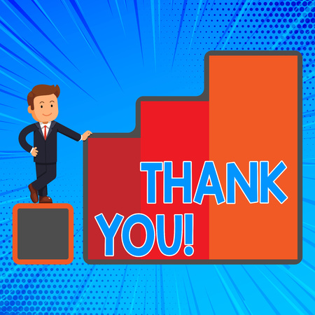 Handwriting text writing Thank You. Conceptual photo polite expression used when acknowledging gift service compliment Happy Businessman Presenting Growth and Success in Rising Bar Graph Columns 免版税图像