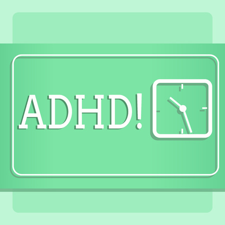 Writing note showing Adhd. Business concept for Learning made easier for children teaching no more a difficult task Modern Design of Square Clock on Two Tone Pastel Backdrop