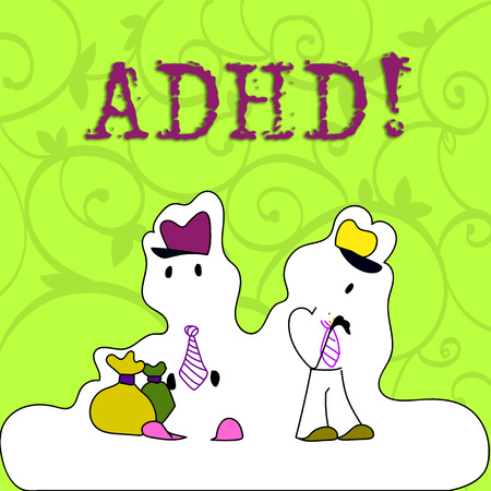 Conceptual hand writing showing Adhd. Concept meaning Learning made easier for children teaching no more a difficult task Figure of Two Men Standing with Pouch Bag White Snow Effect