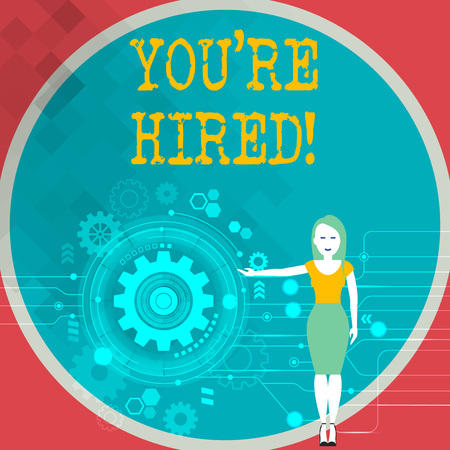 Text sign showing You Re Hired. Business photo showcasing Used by huanalysis resources indicate employee that he is got job Woman Standing and Presenting the SEO Process with Cog Wheel Gear inside