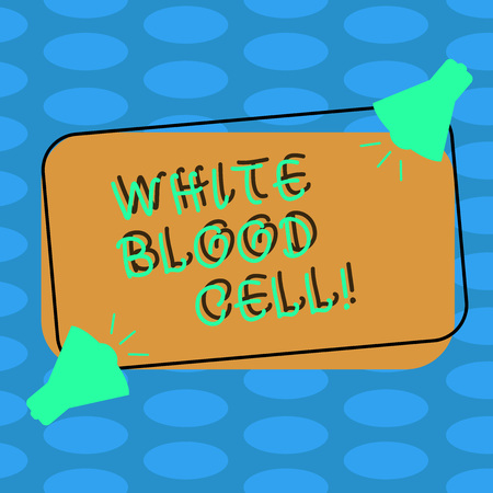 Word writing text White Blood Cell. Business photo showcasing Leucocytes in charge of protect body from infections Two Megaphone with Sound icon on Blank Color Outlined Rectangular Shape Stock Photo