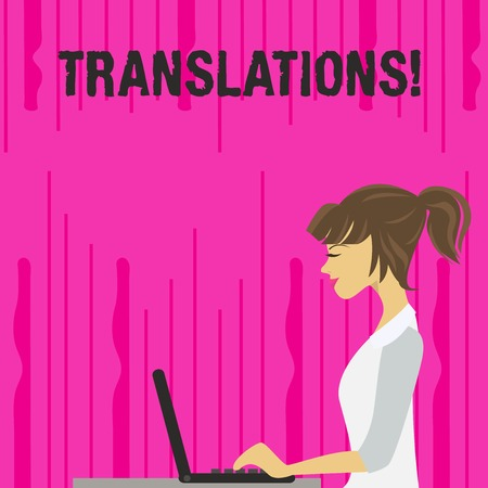 Text sign showing Translations. Business photo text Written or printed process of translating words text voice photo of Young Busy Woman Sitting Side View and Working on her Laptop Imagens