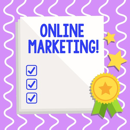 Conceptual hand writing showing Online Marketing. Concept meaning leveraging web based channels spread about companys brand White Sheet of Parchment Paper with Ribbon Seal Stamp Label