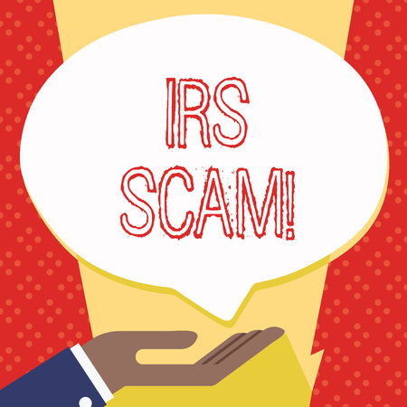 Text sign showing Irs Scam. Business photo showcasing involve scammers targeting taxpayers pretending be Internal Service Palm Up in Supine Position for Donation Hand Sign Icon and Speech Bubble Banco de Imagens - 119851920