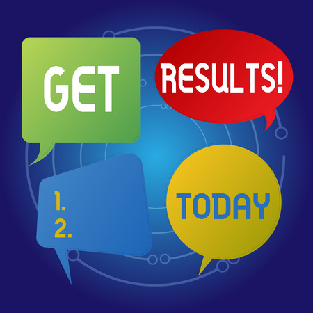 Text sign showing Get Results. Business photo showcasing caused or produced by something else Consequence outcome Blank Speech Bubble Sticker in Different Shapes and Color for Multiple Chat Banque d'images - 119851928
