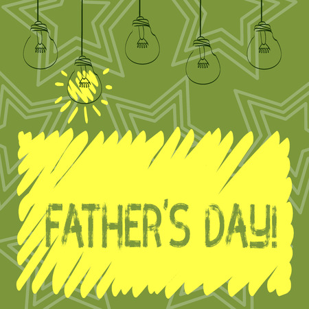 Handwriting text writing Father S Day. Conceptual photo day of year where fathers are particularly honoured by children Set of Transparent Bulbs Hanging with Filament and One is in Lighted Icon
