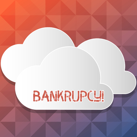 Handwriting text writing Bankrupcy. Conceptual photo Company under financial crisis goes bankrupt with declining sales Blank White Fluffy Clouds Cut Out of Board Floating on Top of Each Other Imagens
