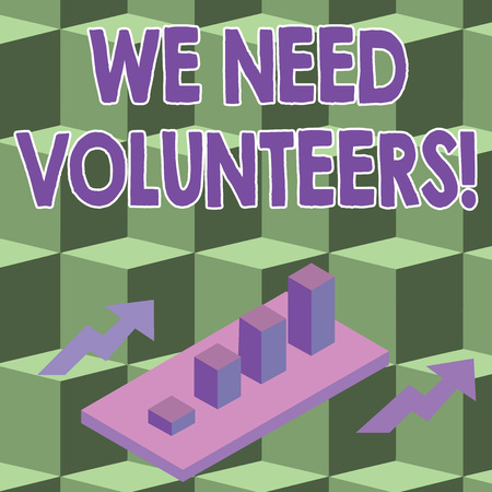 Conceptual hand writing showing We Need Volunteers. Concept meaning someone who does work without being paid for it Clustered 3D Bar Chart Graph in Perspective with Two Arrows Stock Photo