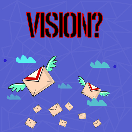 Writing note showing Visionquestion. Business concept for Company commitment describing future realistic state Colorful Airmail Letter Envelopes and Two of Them with Wings 版權商用圖片