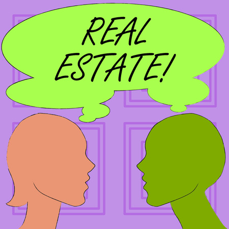 Conceptual hand writing showing Real Estate. Concept meaning owning property consisting of empty land or buildings Silhouette Sideview Profile of Man and Woman Thought Bubble Stock Photo