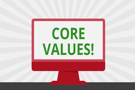 Handwriting text Core Values. Conceptual photo principle that demonstrating views as being central importance Blank Space Desktop Computer Colorful Monitor Screen Freestanding on Table
