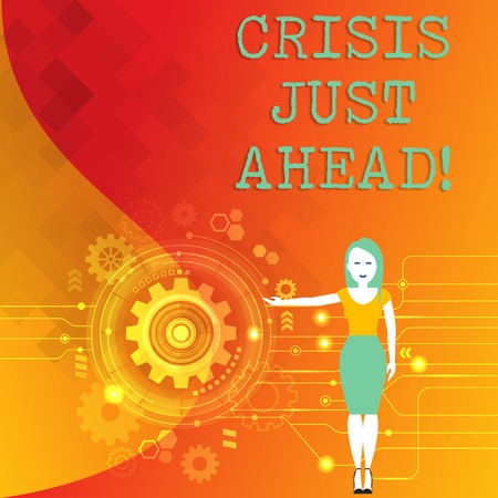 Word writing text Crisis Just Ahead. Business photo showcasing Foresee failure take right action before it is late Woman Standing and Presenting the SEO Process with Cog Wheel Gear inside