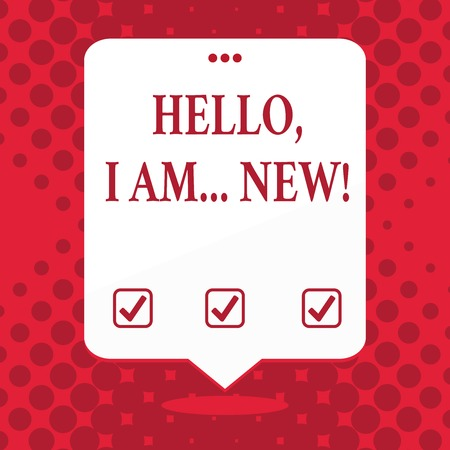 Handwriting text Hello I Am New. Conceptual photo used greeting or begin telephone conversation Blank Space White Speech Balloon Floating with Three Punched Holes on Top