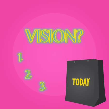 Text sign showing Visionquestion. Business photo showcasing Company commitment describing future realistic state Color Gift Bag with Punched Hole but Without Handle on Twotone Blank Space 版權商用圖片