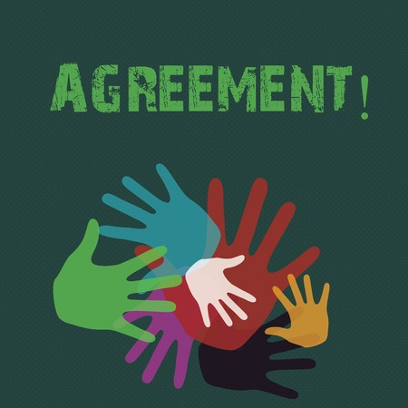 Conceptual hand writing showing Agreement. Concept meaning Business or demonstratingal closures made easy with better guidance Hand Marks of Different Sizes for Teamwork and Creativity