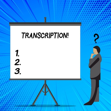 Word writing text Transcription. Business photo showcasing Written or printed process of transcribing words text voice Businessman with Question Mark Above his Head Standing Beside Blank Screen Stock fotó
