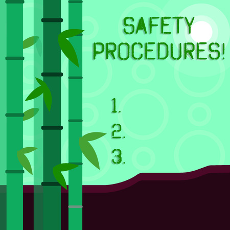 Conceptual hand writing showing Safety Procedures. Concept meaning Follow rules and regulations for workplace security Colorful Set of Leafy Bamboo and Moon or Sun with Round Beam