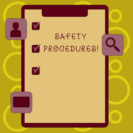 Writing note showing Safety Procedures. Business concept for Follow rules and regulations for workplace security Clipboard with Tick Box and Apps for Assessment and Reminder Imagens