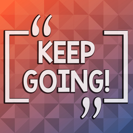 Word writing text Keep Going. Business photo showcasing make effort to live normally in spite of difficulty situation Infinite Multi Tone Color Triangle Shape in Pyramid Pattern with Dimension 스톡 콘텐츠