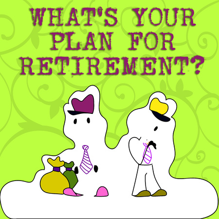 Conceptual hand writing showing What S Your Plan For Retirement question. Concept meaning Thought any plans when you grow old Figure of Two Men Standing with Pouch Bag White Snow Effect Фото со стока - 119864086