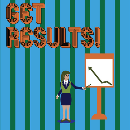 Writing note showing Get Results. Business concept for caused or produced by something else Consequence outcome Woman Holding Stick Pointing to Chart of Arrow on Whiteboard