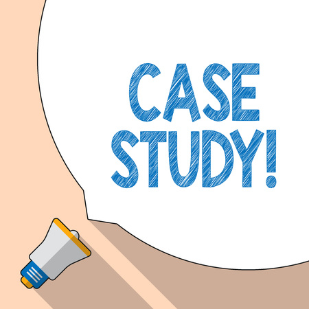 Writing note showing Case Study. Business concept for record of research into development of particular situation White Speech Bubble Occupying Half of Screen and Megaphone