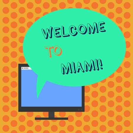 Writing note showing Welcome To Miami. Business concept for Arriving to Florida sunny city summer beach vacation Mounted Computer Monitor Blank Screen with Oval Color Speech Bubble