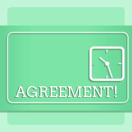 Writing note showing Agreement. Business concept for Business or demonstratingal closures made easy with better guidance Modern Design of Square Clock on Two Tone Pastel Backdrop
