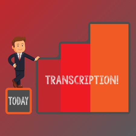 Conceptual hand writing showing Transcription. Concept meaning Written or printed process of transcribing words text voice Businessman Presenting Growth and Success in Graph Columns