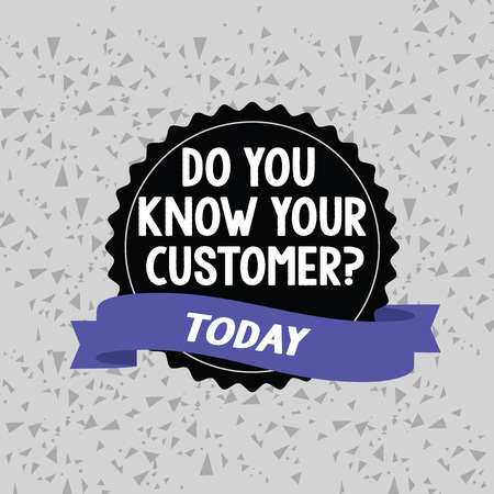 Word writing text Do You Know Your Customer Question. Business photo showcasing service identify clients with relevant information Blank Color Seal Sticker with Jagged Edge and Different Shade Ribbon Strip Imagens