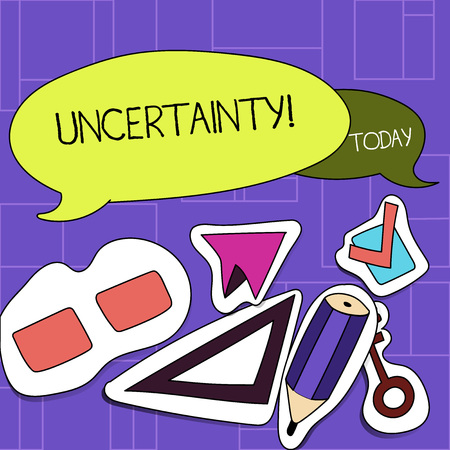 Handwriting text Uncertainty. Conceptual photo Unpredictability of certain situations events behavior Two Blank Colorful Speech Balloon and Different Labels Sticker Style Icons Stock Photo