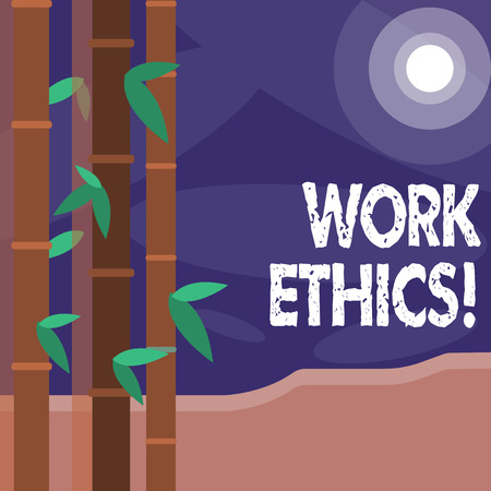 Word writing text Work Ethics. Business photo showcasing principle that hard work intrinsically virtuous worthy reward Colorful Sets of Leafy Bamboo on Left Side and Moon or Sun with Round Beam
