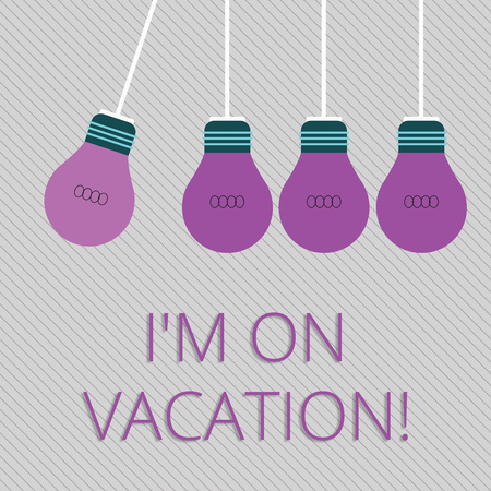 Word writing text I M On Vacation. Business photo showcasing Break from stressful work pressure travel worldwide Color Incandescent Pendant Bulb Hanging with One Different Shade Lightbulb