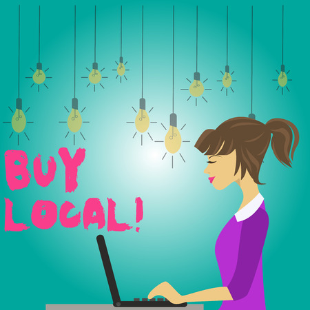 Word writing text Buy Local. Business photo showcasing purchase locally produced goods and services over farther away photo of Young Busy Woman Sitting Side View and Working on her Laptop Stock Photo