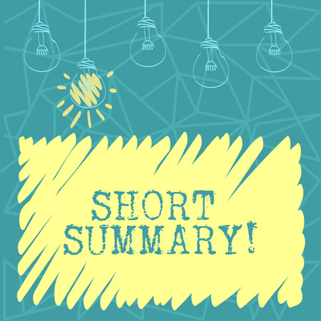 Handwriting text Short Summary. Conceptual photo Brief statement of main points clear Set of Transparent Bulbs Hanging with Filament and One is in Lighted Icon Imagens