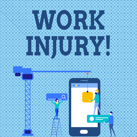 Word writing text Work Injury. Business photo showcasing accident that occurred during and as result of working Staff Working Together for Common Target Goal with SEO Process Icons 免版税图像